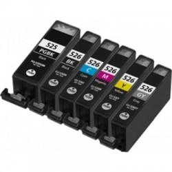 Kompatible Tinte zu Canon PGI-525/CLI-526 Rainbow-Kit + Grau