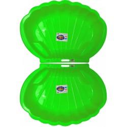 2x Muschel Sandkasten Planschbecken XL 108x79x18 grün + 25-tlg. Eimergarnitur