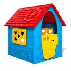 Kinderspielhaus blau-rot-gelb