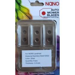 nano 9 Stk Stahl Ersatzklingen Ersatzmesser für Worx Landroid Modelle